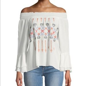 Allison New York ots embroidered bell sleeve top L